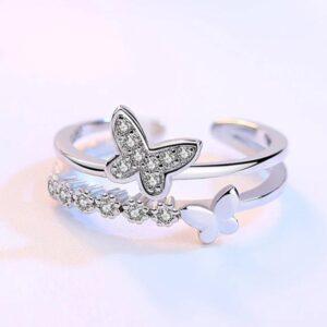 خاتم الفراشه الانيق فضه ايطالى